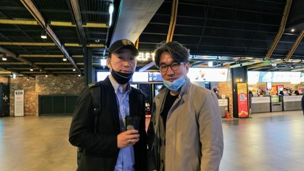 영화 <슈팅 걸스> 배효민 감독과 기자 2020년 4월 23일 언론 시사회에서. 왼쪽이 배효민 감독.