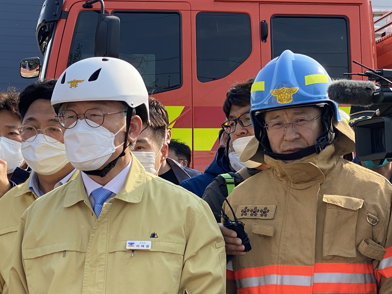 29일 화재현장을 찾은 이재명 경기도지사