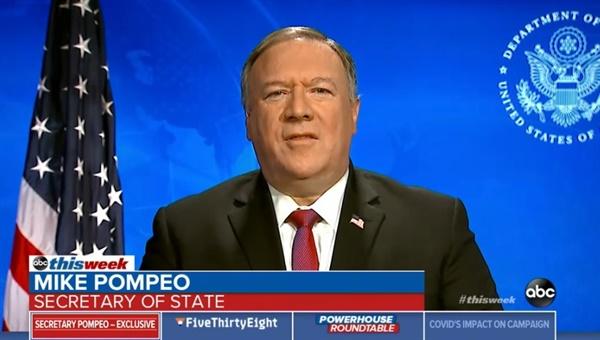 마이크 폼페이오 미국 국무장관의 ABC방송 인터뷰 갈무리.