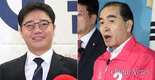 왼쪽부터 지성호 미래한국당 비례대표 당선인, 태구민(태영호) 미래통합당 당선인.