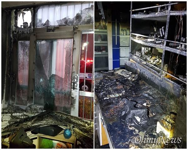 지난해 12우러 27일 경북대 화학과 실험실에서 폭발로 인한 화재가 발생해 4명의 학생들이 화상을 입었다. 사진은 불에 탄 실험실 모습.