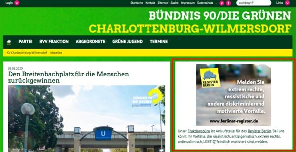 샬로텐부르크-빌머스도르프 녹색당 홈페이지에 최근 코로나로 인한 극우, 인종차별 범죄가 발생함에 따라 신고 접수 사이트가 안내돼 있다.