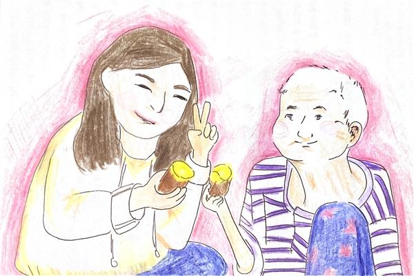 딸은 왕할머니에게 별도의 감사카드와 함께 고구마를 먹었던 1월의 풍경을 그림으로 보내왔다.