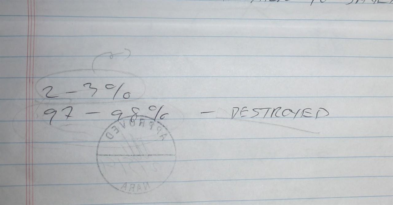 NARA의 아키비스트가 미국 국익에 반하는 문서는 97-98%가 'Destroyed(파괴)되었다'고 기록한 메모장.