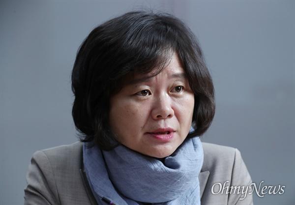 4·15 총선에서 낙선한 이정미 정의당 의원이 15일 오전 서울 여의도 국회 의원회관에서 <오마이뉴스>와 인터뷰하고 있다.