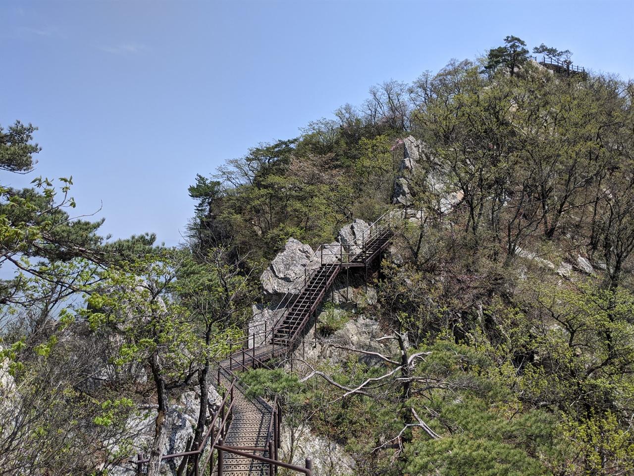 금수산 정상으로 올라가는 계단 금수산 정상으로 향하는 계단이 끝없이 이어진다.