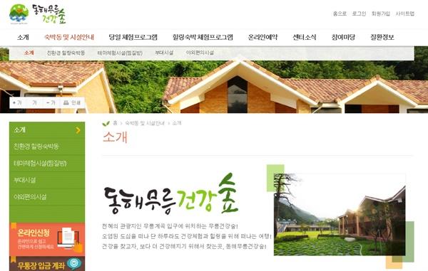 2020년 웰니스관광 협력지구로 선정된 강원도(동해 무릉건강숲 홈페이지)