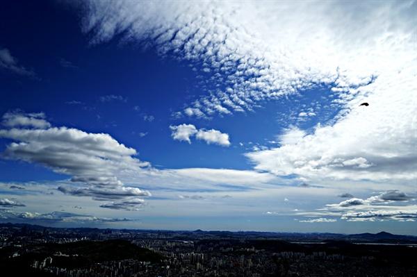 멋진 구름과 까마귀의 비행