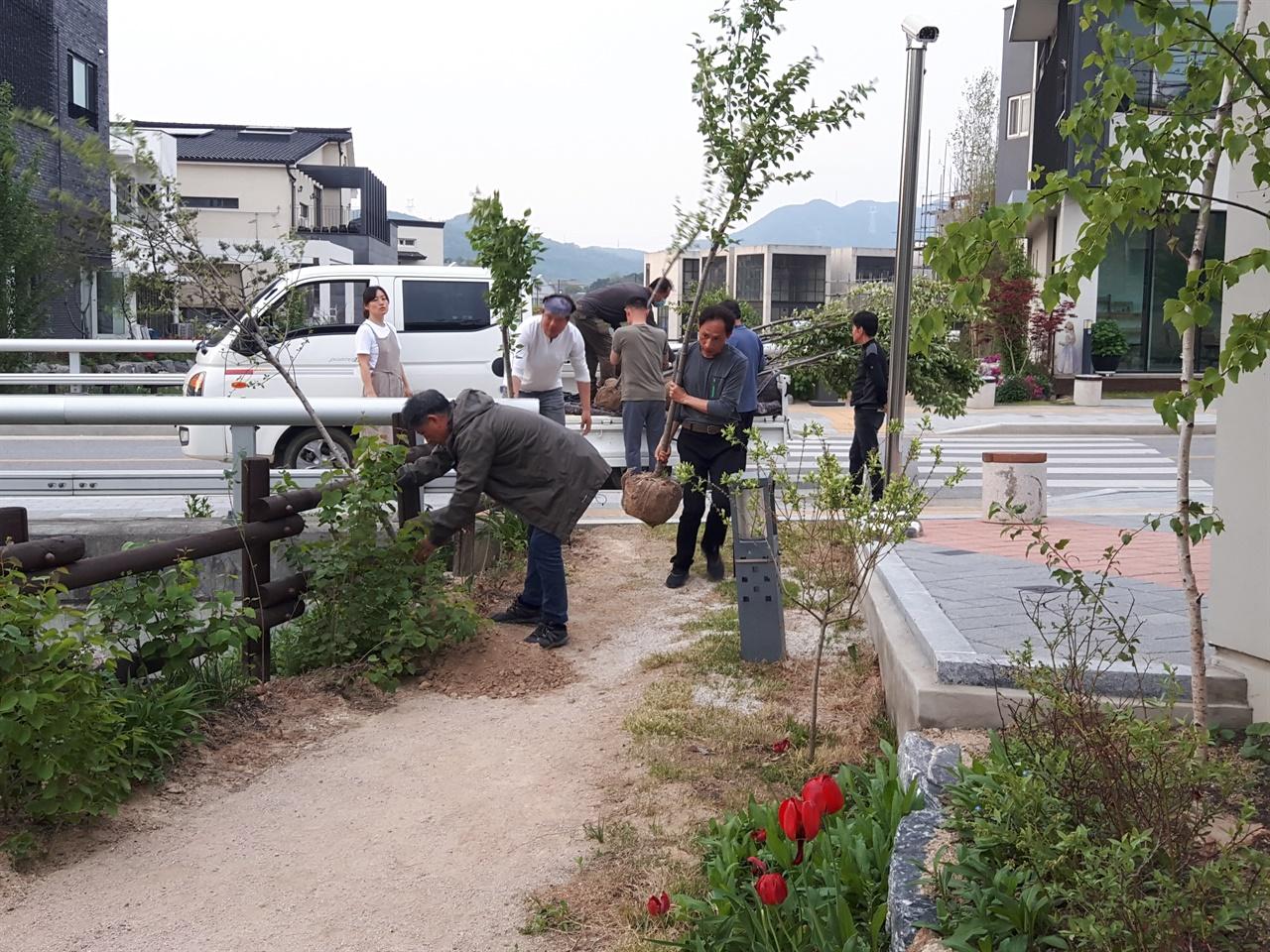 지난 5월 2일 예스파크의 회랑길 입주작가들은 산책로에  벚나무 27그루와 라일락 370그루를 심었다.