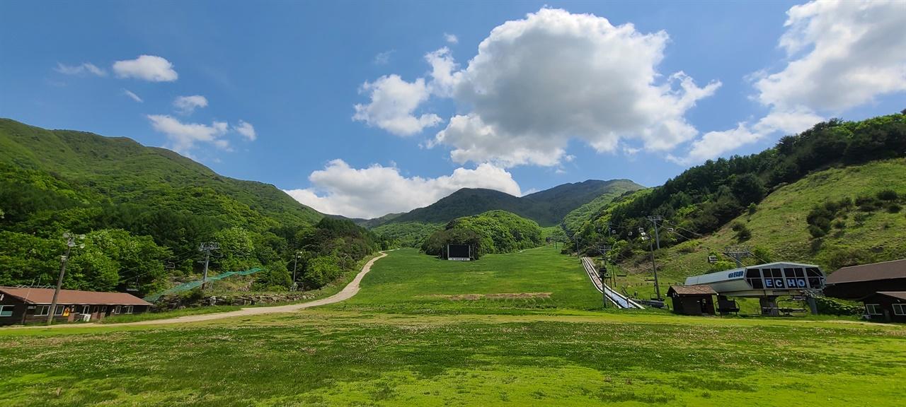 설천봉 가는 곤돌라 길   지난겨울의 설원이 푸른 초원으로 바뀌었다.