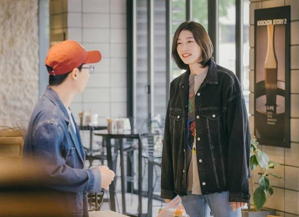 유재석(왼쪽)과 김연경 만남