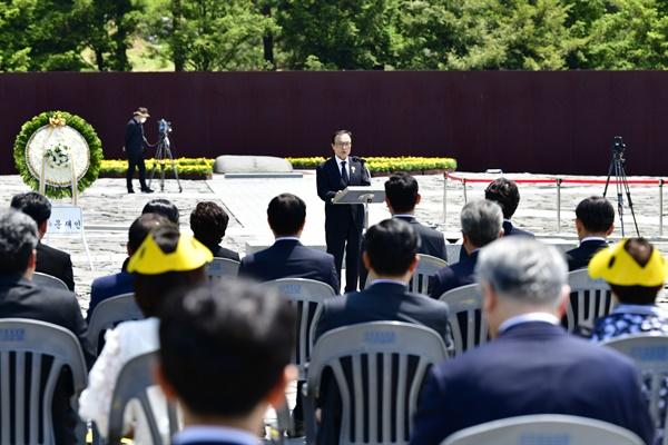 5월 23일 김해 봉하마을 고 노무현 전 대통령 묘역에서 열린 11주기 추도식. 이해찬 대표 추도사.