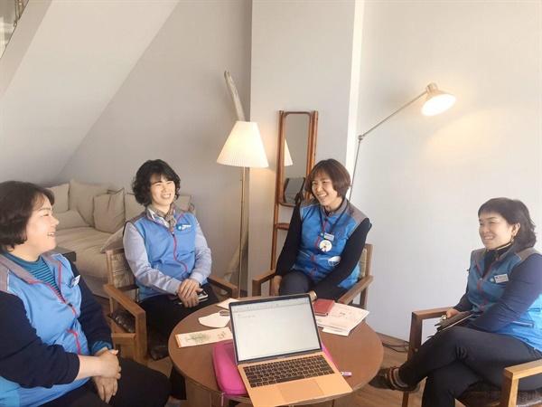 왼쪽부터 공공운수노조 경동도시가스분회 김정희 여성부장, 권미순, 이신자, 안미선 조합원의 모습이다.