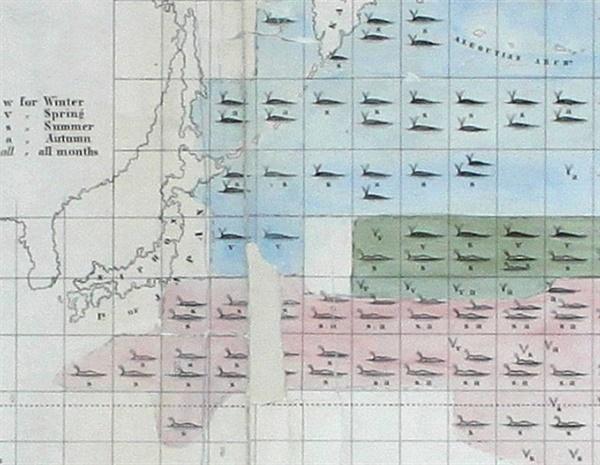 고래 해도 부분도 1851년 미해군성 수로국에서 제작