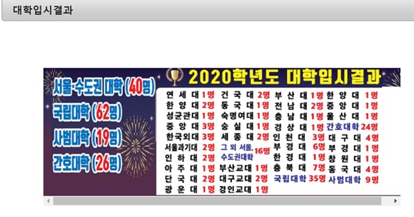 경북 S고 공식 홈페이지에 떠 있는 대학입시 결과 자랑 팝업창.