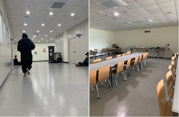 휴게공간이 부족한 쿠팡 물류센터의 노동자들이 복도에서 휴식을 취하고 있다.(왼쪽) 충분한 간격을 띄우지 못하고 의자가 다닥다닥 배치돼있는 구내식당 모습.(오른쪽)