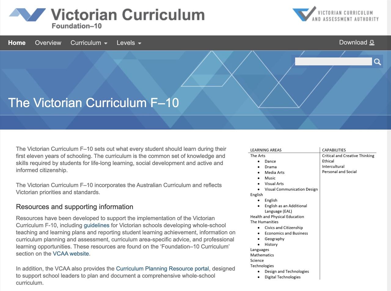 빅토리아주의 교육과정을 담은 사이트 교사는 물론 일반인도 이 사이트를 읽어보면, 호주의 교육과정에 대한 전반적인 이해가 가능하다.