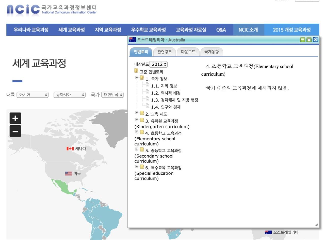한국의 교육과정을 담은 사이트 한국 '교사지인 찬스'를 사용하여 간신히 알아낸 방치된 느낌의 사이트. 해외에서는 대부분의 자료가 열리지도 않을 뿐더러, 타 국가의 교육과정에 대한 안내는 정보 오류도 많고 열면 공란인 경우가 많아 부끄러운 수준의 사이트.