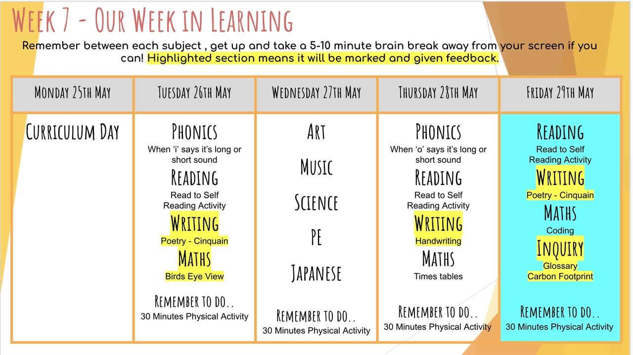 매주 월요일마다 제공되는 주간학습 계획표(온라인 수업용) 멜버른 초등학교에서는 주간 수업 계획표를 학부모에게 제공한다.