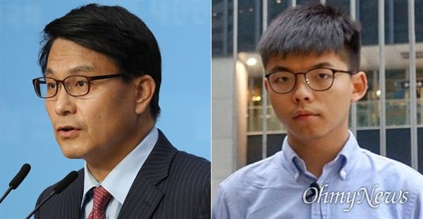 20대 국회 외교통일위원장을 역임했떤 윤상현 무소속 의원(왼쪽)과 홍콩 민주화운동을 이끄는 조슈아 윙(오른쪽).