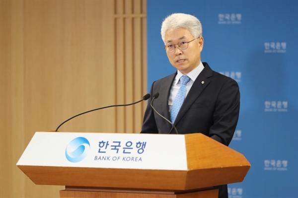 박양수 한국은행 경제통계국장이 2일 서울 중구 한국은행에서 열린 2020년 1/4분기 국민소득(잠정) 설명회에서 발표하고 있다.