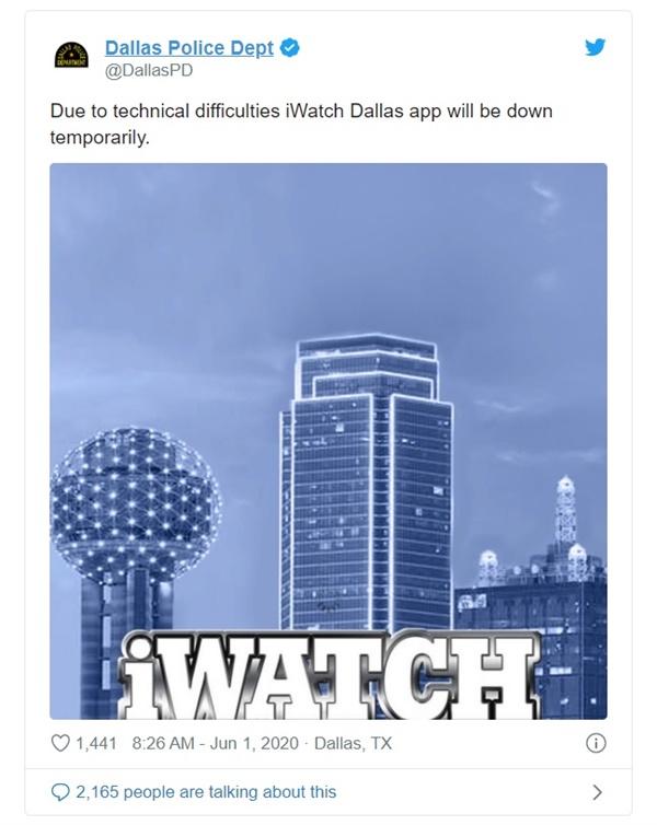 불법 시위 신고 앱이 다운됐다고 밝히는 미국 댈러스 경찰 트위터 계정 갈무리.
