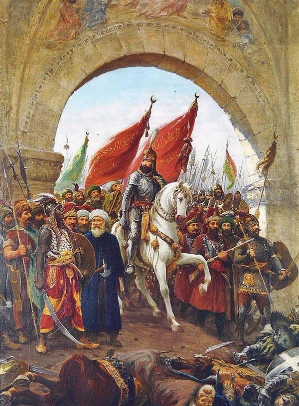 오토만 제국의 메흐메트 대제가 1453년 콘스탄티노플(오늘날 이스탄불)을 점령하던 당시를 상상한 이탈리아 화가 파우스토 조나로의 그림.