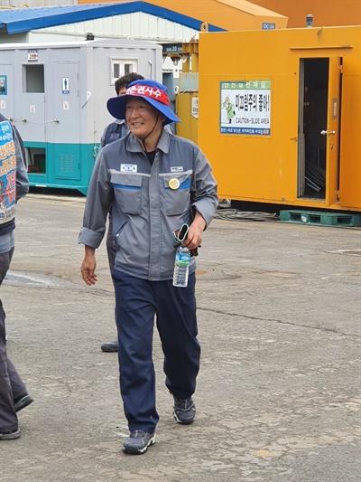 대우조선해양 조명탑에서 7일간 고공농성을 벌이고 6월 3일 오전에 내려온 강병재 노동자.