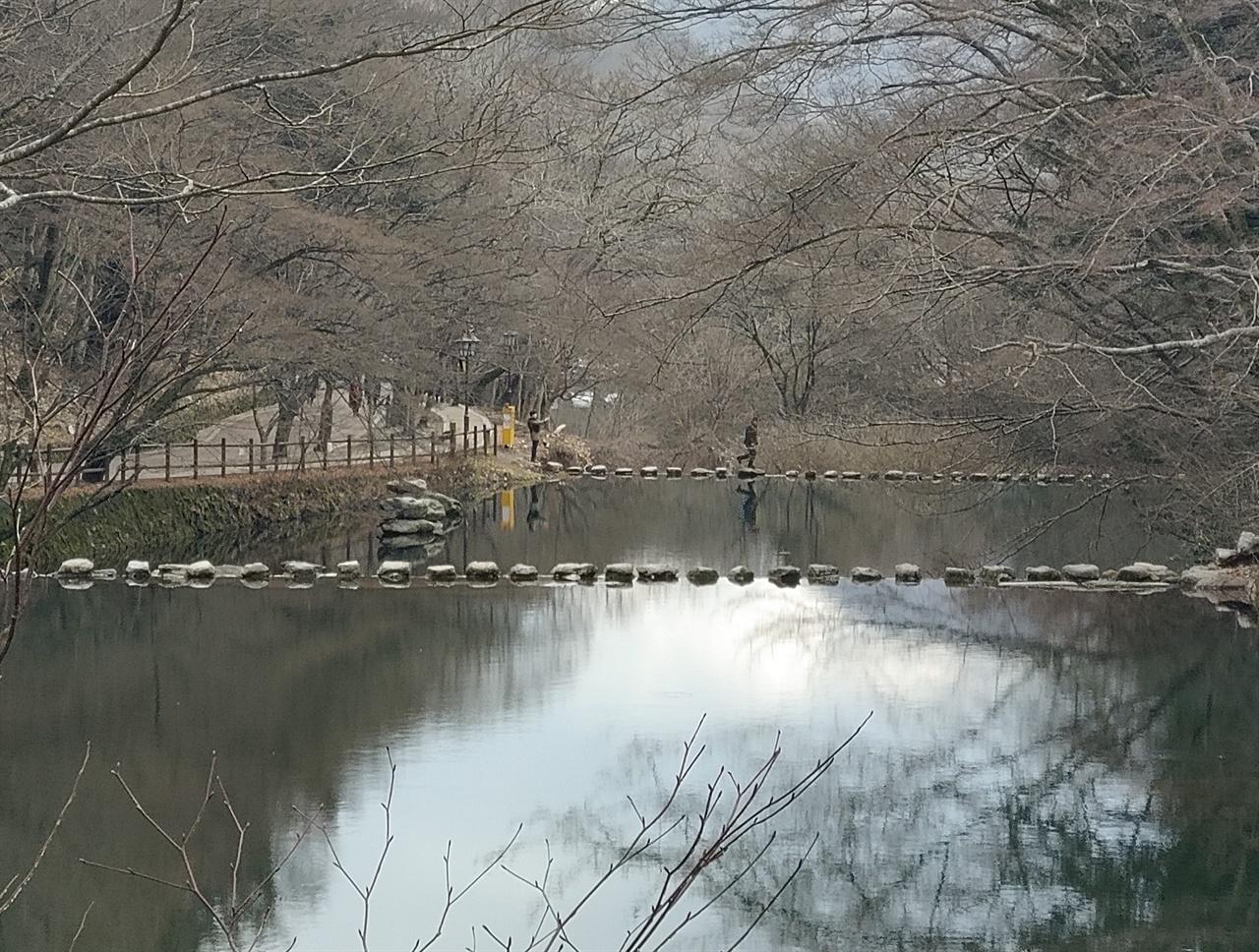 백양사 쌍계루 앞 징검다리 쌍계루 앞 연못에 2단으로 연속되어 있는 징검다리 전경