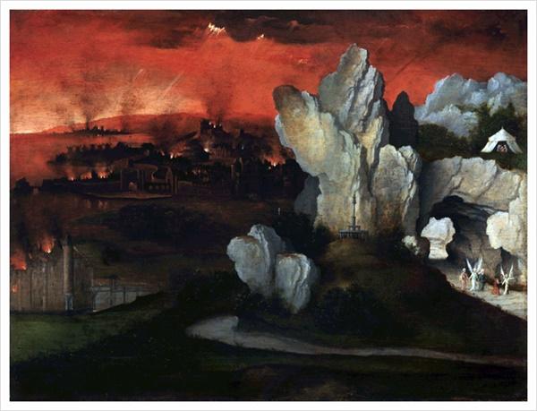 '소돔과 고모라의 멸망', 요하임 파티니르 작품 (목판 유화, 1520)