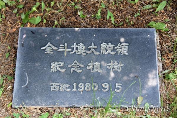 경남 합천군청 뜰에 있는 전두환 전 대통령 기념식수 표지석.