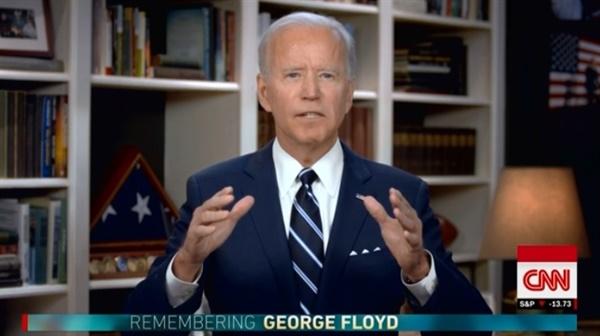 조 바이든 전 미국 부통령의 조지 플로이드 장례식 추도사를 중계하는 CNN 방송 갈무리.