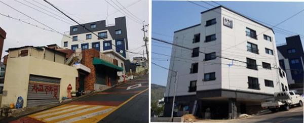 좌측 : 사업 전-노후 단독주택(2호), 우측 :  사업 후-신축 다세대주택(12호) 조감도