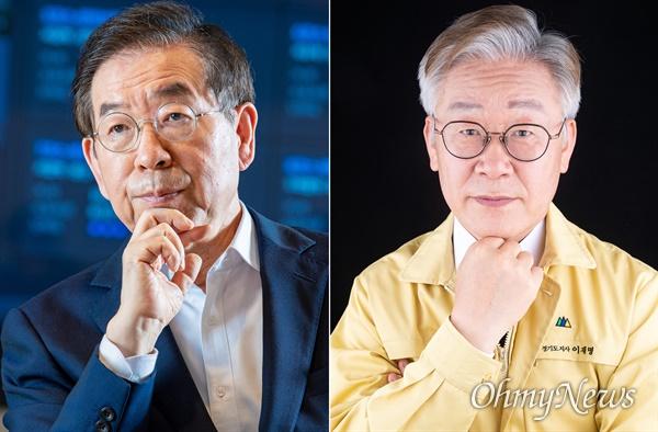 박원순 서울시장(왼쪽)과 이재명 경기도지사(오른쪽).