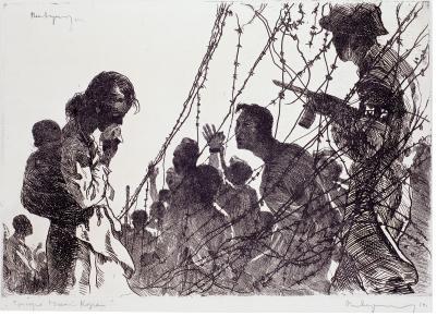 국립현대미술관 《낯선전쟁》전 출품작 이미지(변월룡, <조선분단의 비극>, 1962, 종이에 에칭, 44×64cm, 국립현대미술관 소장)