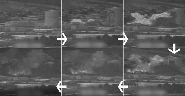 2020년 6월 16일 북한이 개성공단 내 남북 공동연락사무소 청사를 폭파하는 순간이 공개됐다. 국방부는 16일 오후 우리 군의 감시 장비로 포착한 영상을 공개했다. 이 영상에는 북한이 공동연락사무소를 폭파한 뒤 화염, 연기 등이 일어나는 모습이 담겨 있다. 이미지는 국방부 제공 영상을 시간 순에 따라 갈무리한 것. 왼쪽 위에서부터 시계방향.