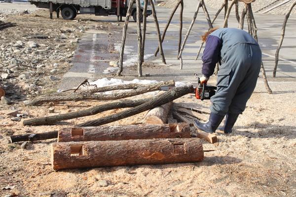 Y형 교각과 멍에목을 다듬는 모습 섶다리의 교각 역할을 하는 Y형 나무와 상판목 지지대 역할을 하는 멍에목을 다듬는 모습
