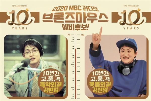 최근 MBC는 자사 라디오에서 10년 이상 진행을 맡은 김현철, 김신영에게 브론즈 마우스상을 수여한다고 발표했다.