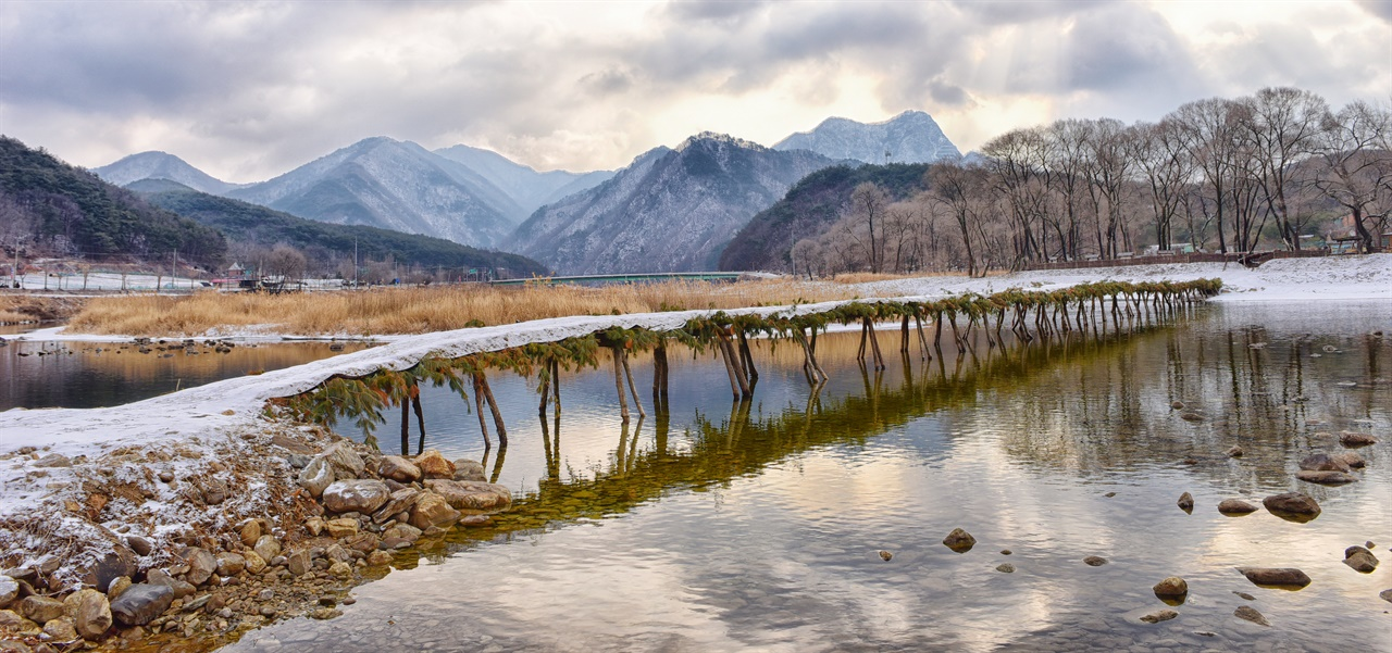한겨울 아련한 향수를 불러 일으키는 섶다리 겨울 하얀 눈이 내린 평창강과 섶다리가 만들어낸 그림같은 풍경.