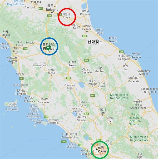 피렌체와 이몰라, 그리고 로마   교황은 이몰라(붉은 원) 군주에 자신의 조카를 앉히면서 멀리 떨어진 로마(녹색 원)에서도 피렌체(파란 원)의 움직임을 감시할 수 있게 되었다.