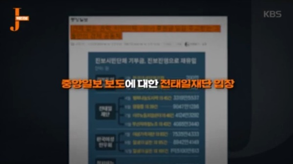 KBS <저널리즘 토크쇼 J> 한장면.