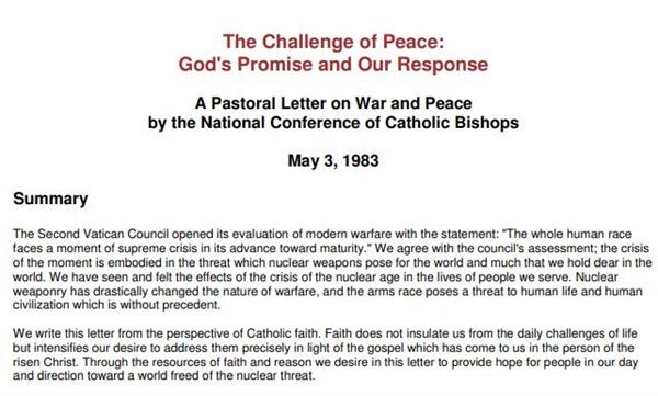 미국 가톨릭 주교회의가 1983년 5월 발표한 ?The Challenge of Peace: God's Promise and Our Response(평화의 도전: 하느님의 약속과 우리의 응답)? 사목 서한(표지사진). 전쟁과 평화에 대한 미국 가톨릭의 입장을 담은 문서로, 오늘날 미국에도 시사하는 점이 많다.