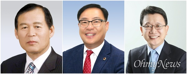 제8대 대구시의회 후반기 의장으로 선출된 장상수 의원과 부의장으로 선출된 김대현·강민구 의원.(왼쪽부터)