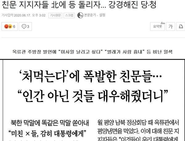 북한 '막말' 전하며 특정 지지층과 엮어 보도한 조선일보(6/16), 세계일보(6/17)
