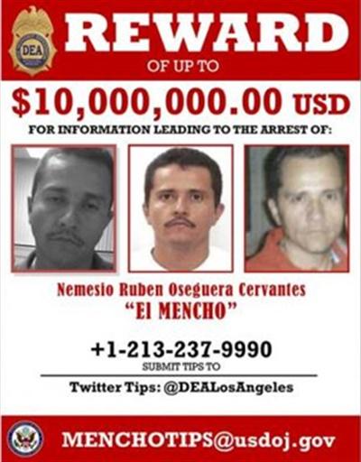 미국 마약단속국(DEA)의 엘 멘초 수배 전단
