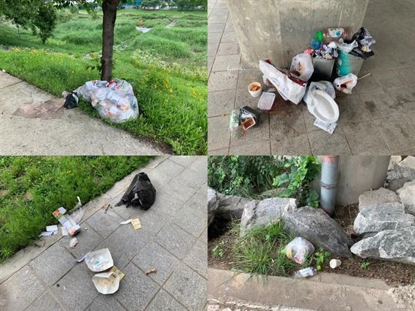 배달음식 쓰레기, 각종 일회용기 쓰레기, 닭뼈들이 널브러져있다
