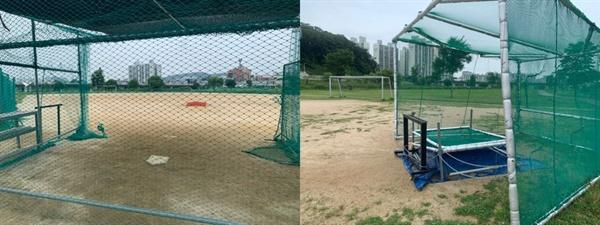 축구장에 야구 시설을 임의 설치하여 사용하고 있다