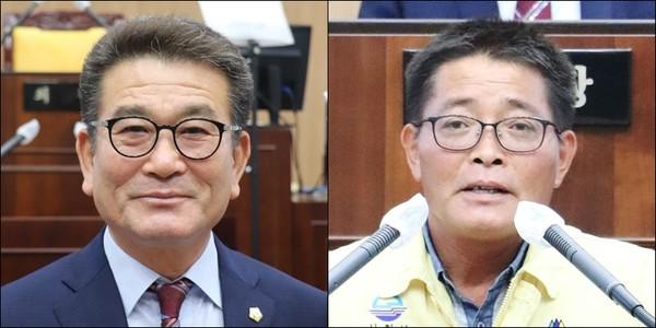 2일 오전 8대 사천시의회 후반기 의장단 선출이 마무리됐다. (사진 왼쪽부터 이삼수 의장. 김봉균 부의장)