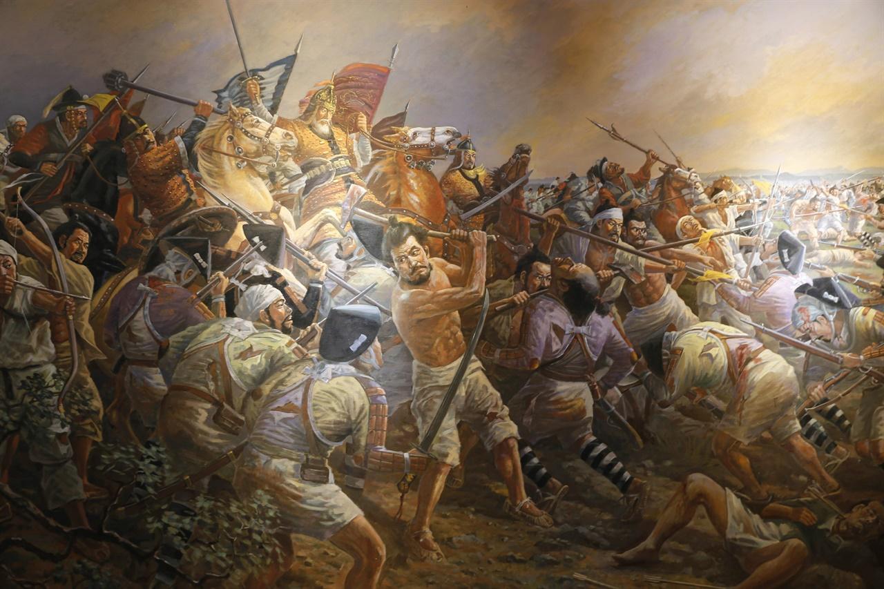 임진왜란 때 금산전투 장면을 그린 그림. 금산전투에는 고경명이 이끈 호남의병이 대거 참여했다.