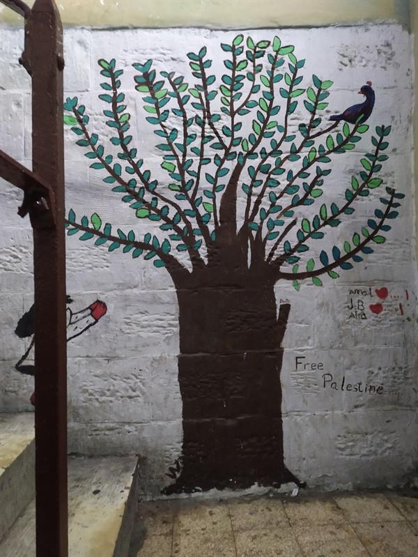 탄위르 사무실 입구에 서 있는 올리브나무 탄위르 사무실은 입구부터 그림과 글씨로 가득한데, 팔레스타인의 상징이라고 할 수 있는 큰 올리브 나무가 입구에 서 있다